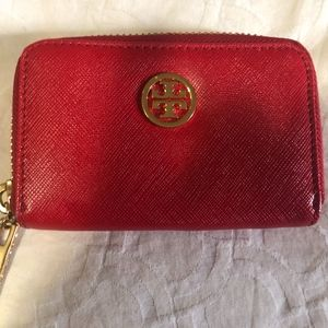 Tory Burch RED Wallet/Coin Purse Leather zip aroun